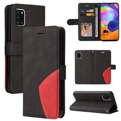 Luxury Two-color Stitching Leather Wallet Case Cover for Samsung Galaxy A31 - Black