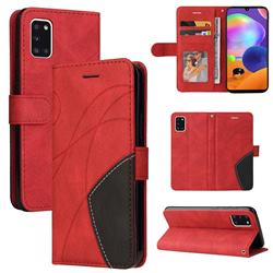 Luxury Two-color Stitching Leather Wallet Case Cover for Samsung Galaxy A31 - Red