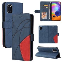 Luxury Two-color Stitching Leather Wallet Case Cover for Samsung Galaxy A31 - Blue