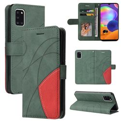 Luxury Two-color Stitching Leather Wallet Case Cover for Samsung Galaxy A31 - Green