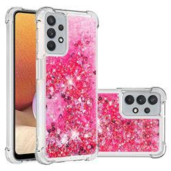 Dynamic Liquid Glitter Sand Quicksand TPU Case for Samsung Galaxy A32 5G - Pink Love Heart