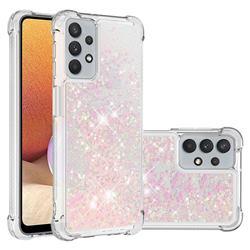 Dynamic Liquid Glitter Sand Quicksand TPU Case for Samsung Galaxy A32 5G - Silver Powder Star