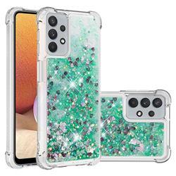 Dynamic Liquid Glitter Sand Quicksand TPU Case for Samsung Galaxy A32 5G - Green Love Heart