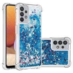 Dynamic Liquid Glitter Sand Quicksand TPU Case for Samsung Galaxy A32 5G - Blue Love Heart