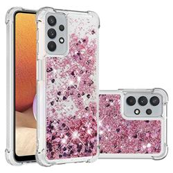 Dynamic Liquid Glitter Sand Quicksand Star TPU Case for Samsung Galaxy A32 5G - Diamond Rose