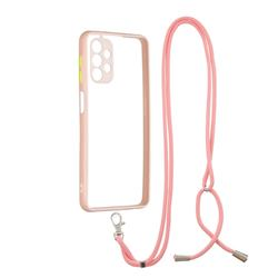 Necklace Cross-body Lanyard Strap Cord Phone Case Cover for Samsung Galaxy A32 5G - Pink
