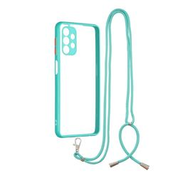 Necklace Cross-body Lanyard Strap Cord Phone Case Cover for Samsung Galaxy A32 5G - Blue
