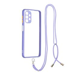 Necklace Cross-body Lanyard Strap Cord Phone Case Cover for Samsung Galaxy A32 5G - Purple