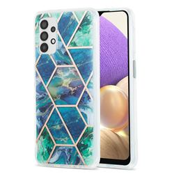 Blue Green Marble Pattern Galvanized Electroplating Protective Case Cover for Samsung Galaxy A32 5G