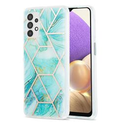 Blue Sea Marble Pattern Galvanized Electroplating Protective Case Cover for Samsung Galaxy A32 5G