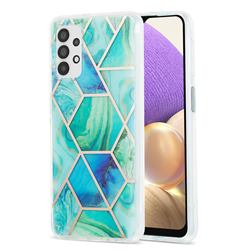 Green Glacier Marble Pattern Galvanized Electroplating Protective Case Cover for Samsung Galaxy A32 5G
