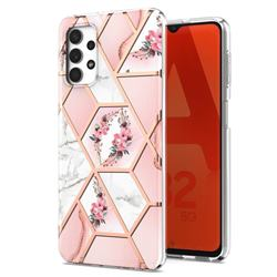 Pink Flower Marble Electroplating Protective Case Cover for Samsung Galaxy A32 5G