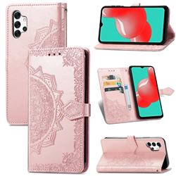 Embossing Imprint Mandala Flower Leather Wallet Case for Samsung Galaxy A32 5G - Rose Gold