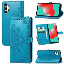 Embossing Imprint Mandala Flower Leather Wallet Case for Samsung Galaxy A32 5G - Blue