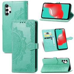 Embossing Imprint Mandala Flower Leather Wallet Case for Samsung Galaxy A32 5G - Green