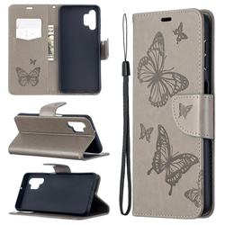 Embossing Double Butterfly Leather Wallet Case for Samsung Galaxy A32 5G - Gray