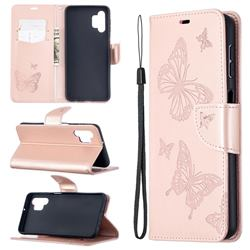 Embossing Double Butterfly Leather Wallet Case for Samsung Galaxy A32 5G - Rose Gold