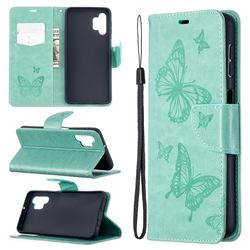 Embossing Double Butterfly Leather Wallet Case for Samsung Galaxy A32 5G - Green