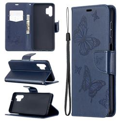 Embossing Double Butterfly Leather Wallet Case for Samsung Galaxy A32 5G - Dark Blue