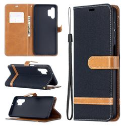Jeans Cowboy Denim Leather Wallet Case for Samsung Galaxy A32 5G - Black