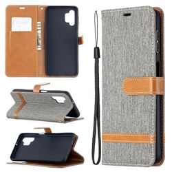 Jeans Cowboy Denim Leather Wallet Case for Samsung Galaxy A32 5G - Gray