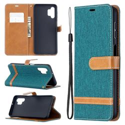 Jeans Cowboy Denim Leather Wallet Case for Samsung Galaxy A32 5G - Green
