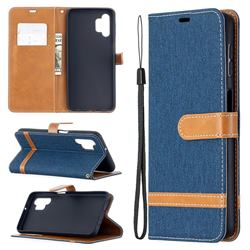 Jeans Cowboy Denim Leather Wallet Case for Samsung Galaxy A32 5G - Dark Blue