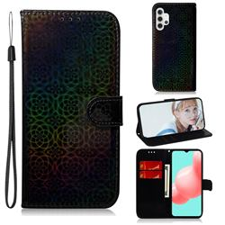 Laser Circle Shining Leather Wallet Phone Case for Samsung Galaxy A32 5G - Black