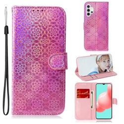Laser Circle Shining Leather Wallet Phone Case for Samsung Galaxy A32 5G - Pink