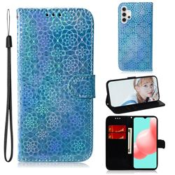 Laser Circle Shining Leather Wallet Phone Case for Samsung Galaxy A32 5G - Blue