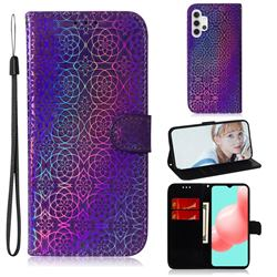 Laser Circle Shining Leather Wallet Phone Case for Samsung Galaxy A32 5G - Purple