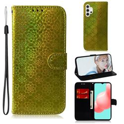 Laser Circle Shining Leather Wallet Phone Case for Samsung Galaxy A32 5G - Golden