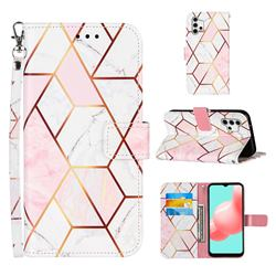 Pink White Stitching Color Marble Leather Wallet Case for Samsung Galaxy A32 5G