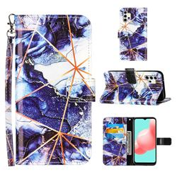 Starry Blue Stitching Color Marble Leather Wallet Case for Samsung Galaxy A32 5G