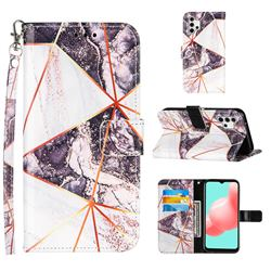 Black and White Stitching Color Marble Leather Wallet Case for Samsung Galaxy A32 5G