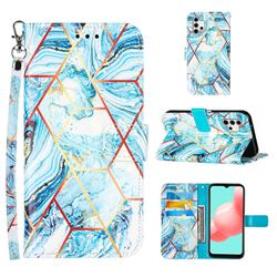 Lake Blue Stitching Color Marble Leather Wallet Case for Samsung Galaxy A32 5G