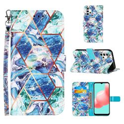 Green and Blue Stitching Color Marble Leather Wallet Case for Samsung Galaxy A32 5G