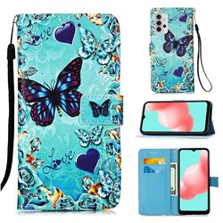Love Butterfly Matte Leather Wallet Phone Case for Samsung Galaxy A32 5G