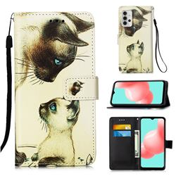Cat Confrontation Matte Leather Wallet Phone Case for Samsung Galaxy A32 5G