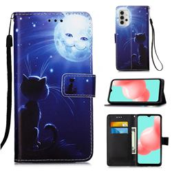 Cat and Moon Matte Leather Wallet Phone Case for Samsung Galaxy A32 5G