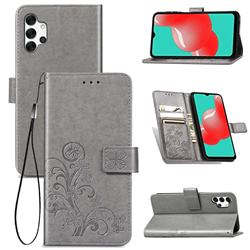Embossing Imprint Four-Leaf Clover Leather Wallet Case for Samsung Galaxy A32 5G - Grey
