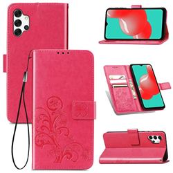 Embossing Imprint Four-Leaf Clover Leather Wallet Case for Samsung Galaxy A32 5G - Rose Red