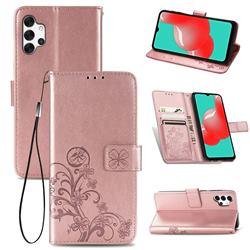 Embossing Imprint Four-Leaf Clover Leather Wallet Case for Samsung Galaxy A32 5G - Rose Gold