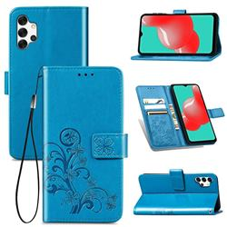 Embossing Imprint Four-Leaf Clover Leather Wallet Case for Samsung Galaxy A32 5G - Blue