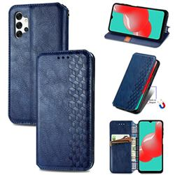Ultra Slim Fashion Business Card Magnetic Automatic Suction Leather Flip Cover for Samsung Galaxy A32 5G - Dark Blue