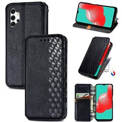 Ultra Slim Fashion Business Card Magnetic Automatic Suction Leather Flip Cover for Samsung Galaxy A32 5G - Black