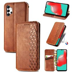 Ultra Slim Fashion Business Card Magnetic Automatic Suction Leather Flip Cover for Samsung Galaxy A32 5G - Brown