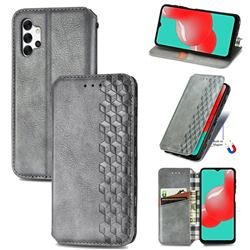 Ultra Slim Fashion Business Card Magnetic Automatic Suction Leather Flip Cover for Samsung Galaxy A32 5G - Grey
