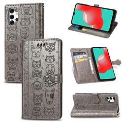Embossing Dog Paw Kitten and Puppy Leather Wallet Case for Samsung Galaxy A32 5G - Gray