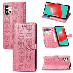 Embossing Dog Paw Kitten and Puppy Leather Wallet Case for Samsung Galaxy A32 5G - Pink